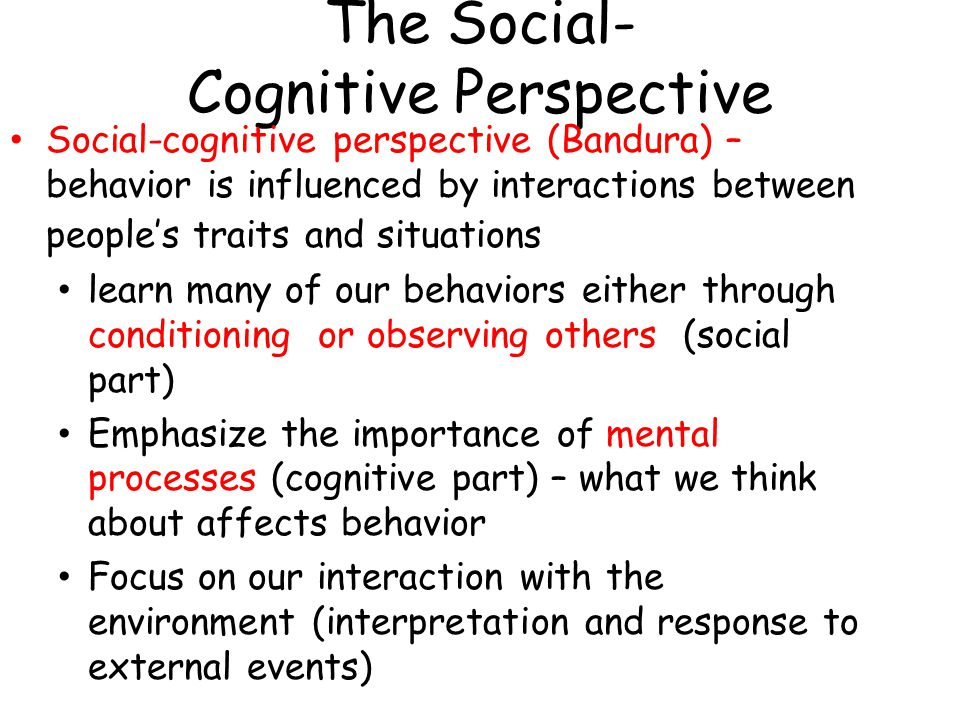 The Social- Cognitive Perspective