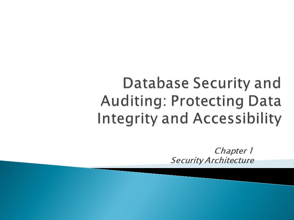 Chapter 1 Security Architecture