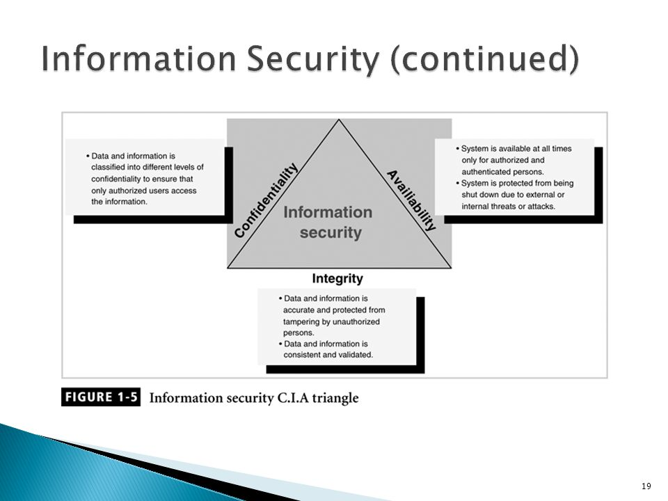 Information Security (continued)