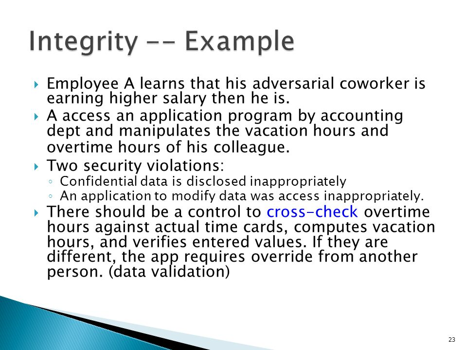 Integrity -- Example Employee A learns that his adversarial coworker is earning higher salary then he is.