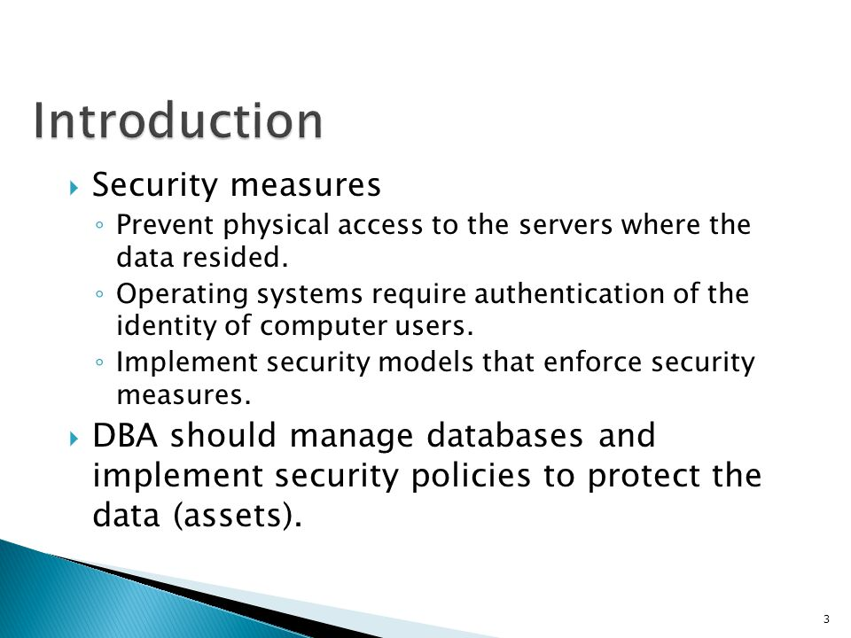 Introduction Security measures