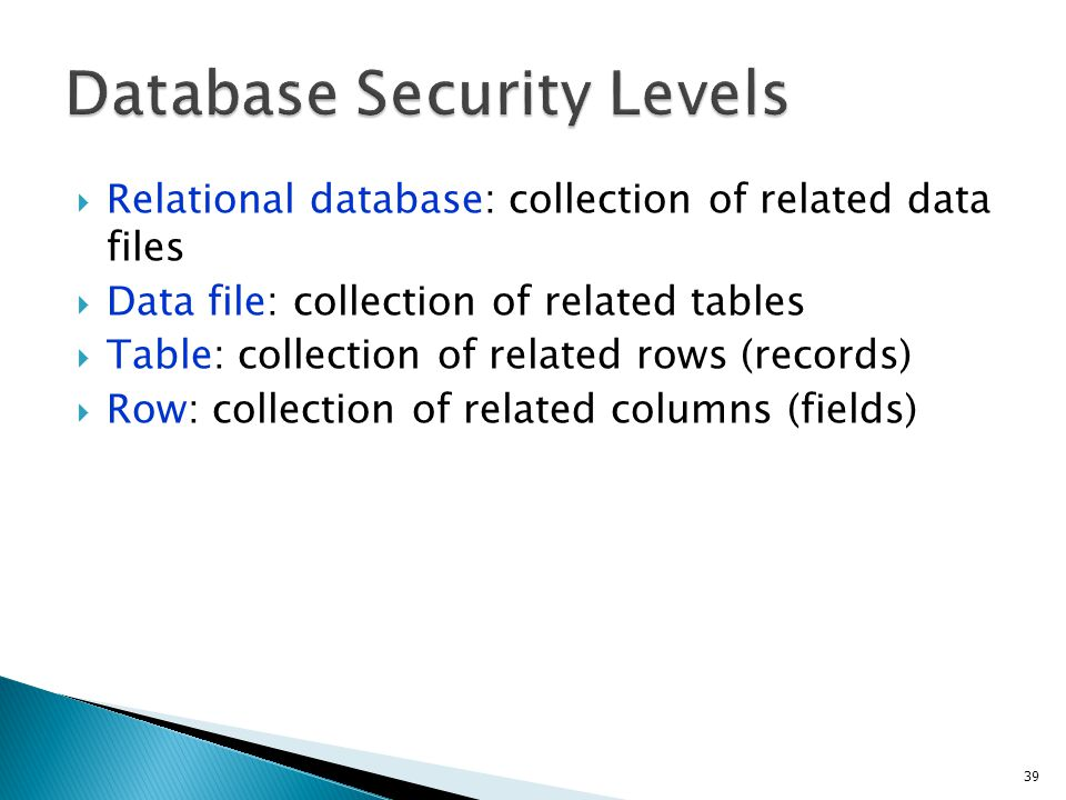 Database Security Levels