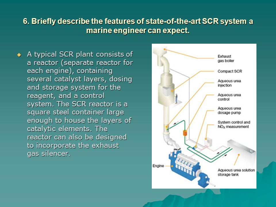 6. Briefly describe the features of state-of-the-art SCR system a marine engineer can expect.