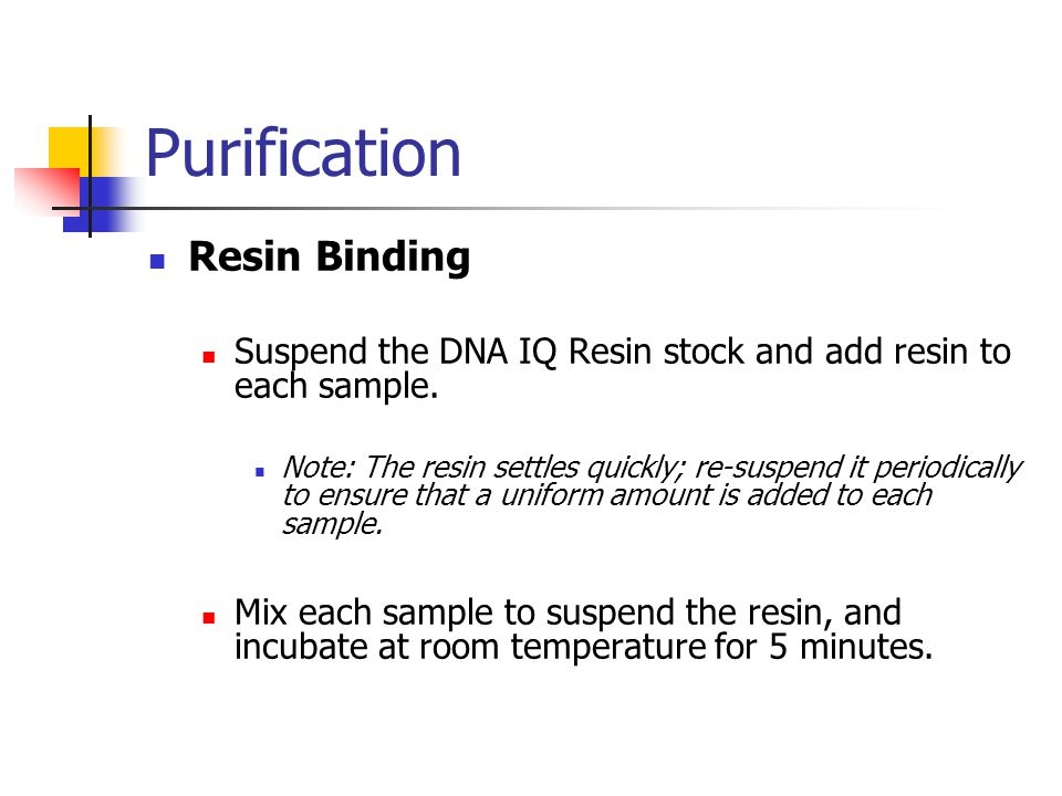 Purification Resin Binding