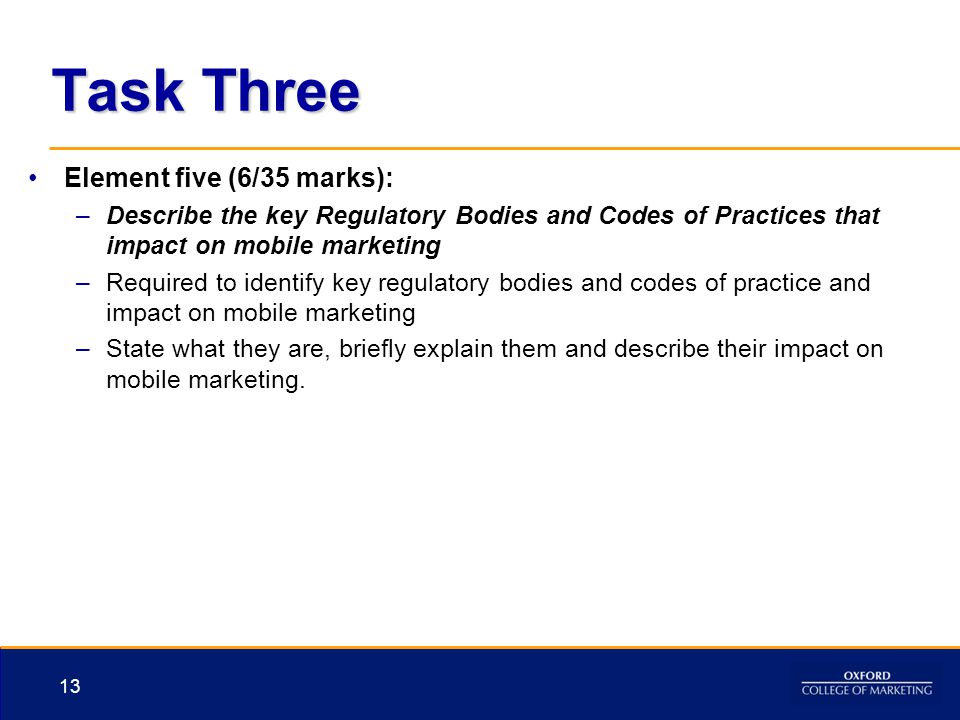 Task Three Element five (6/35 marks):