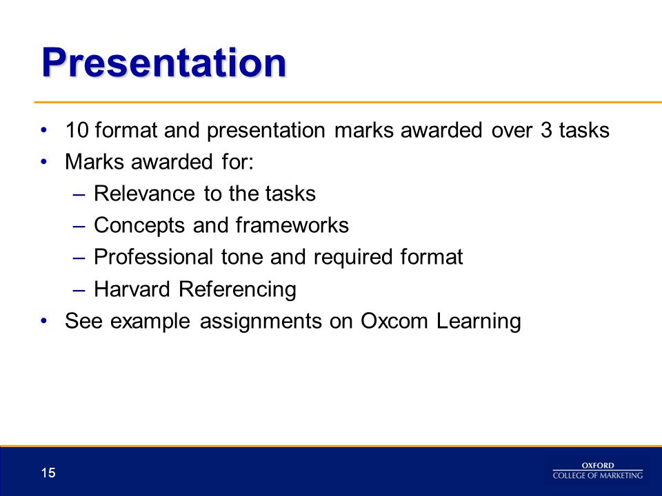Presentation 10 format and presentation marks awarded over 3 tasks