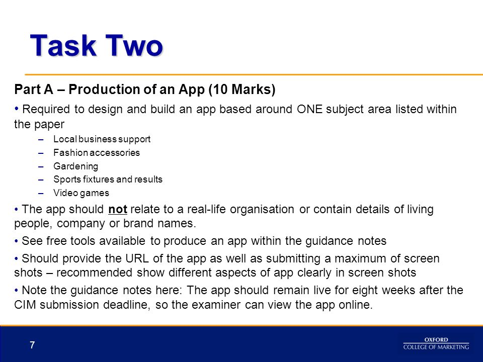 Task Two Part A – Production of an App (10 Marks)