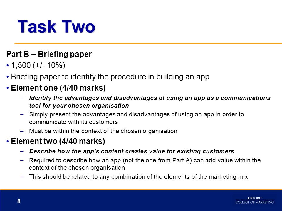 Task Two Part B – Briefing paper 1,500 (+/- 10%)