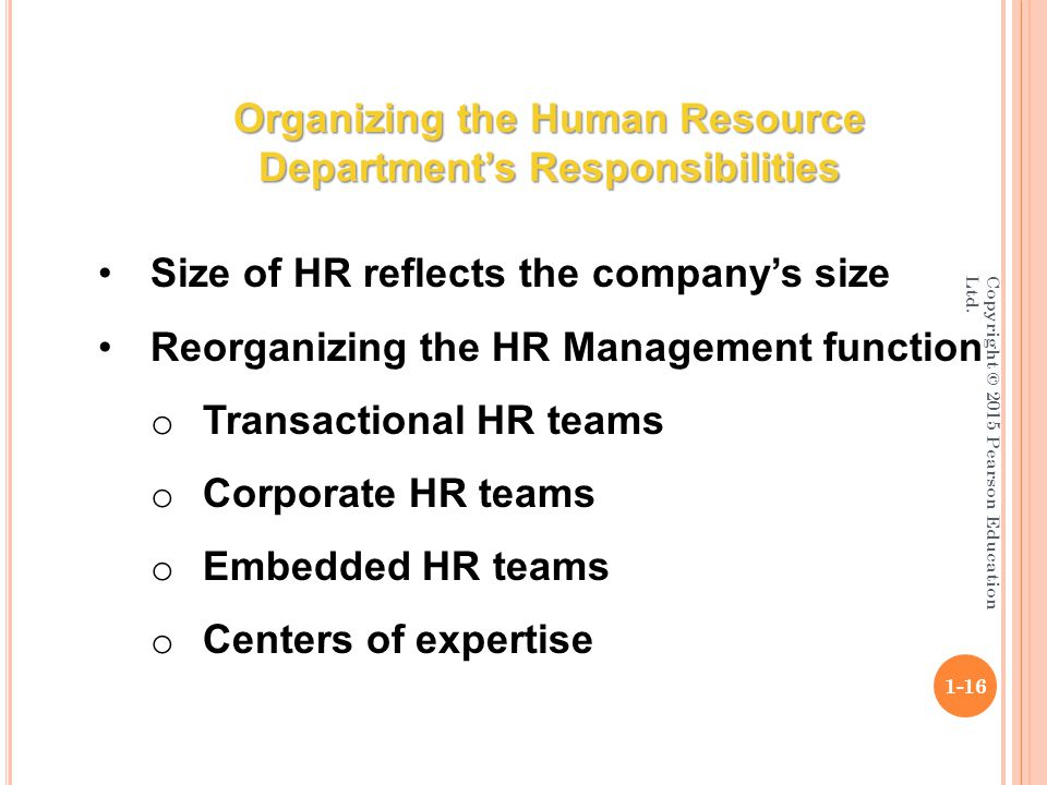 a study of the human resource department A human resource department plays a key role in binding the employees together the hr professionals must undertake certain activities which help in strengthening the bond among the employees and bring them closer.