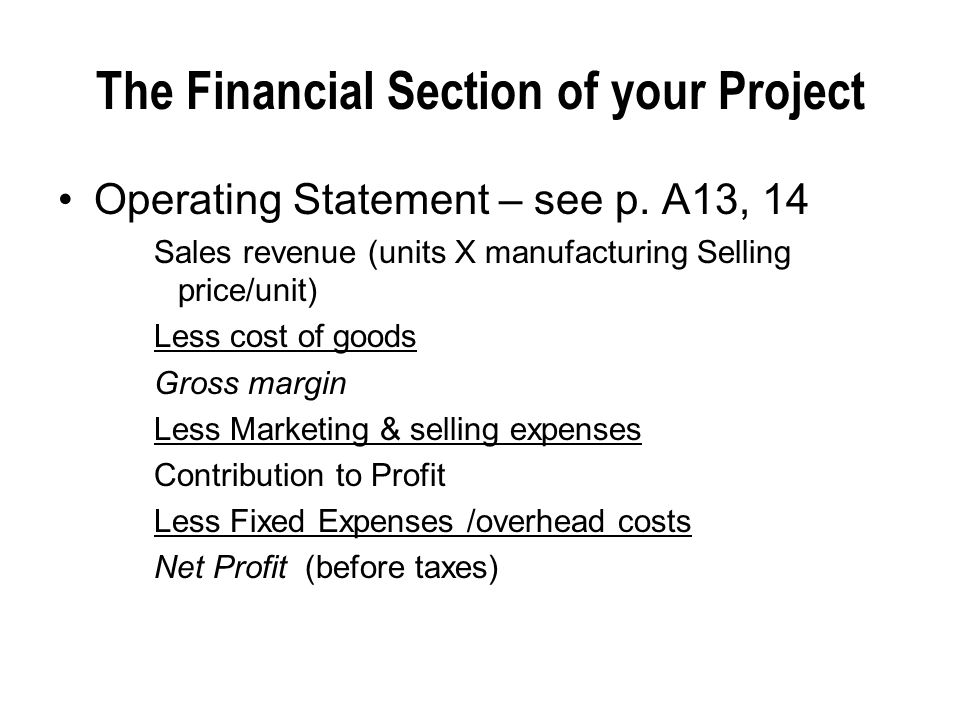 The Financial Section of your Project
