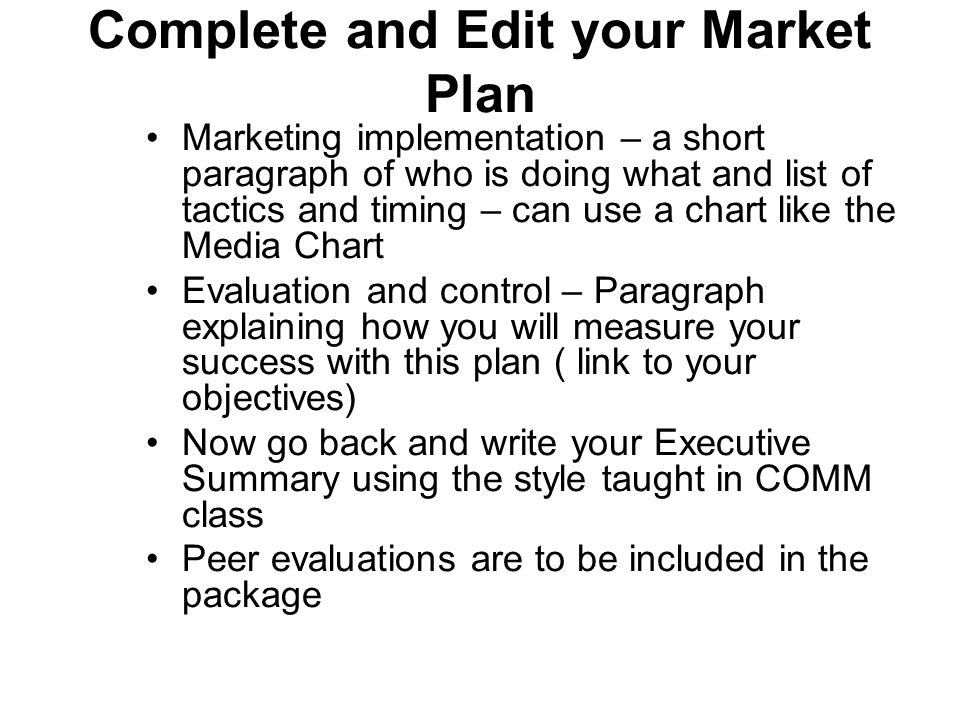 Complete and Edit your Market Plan