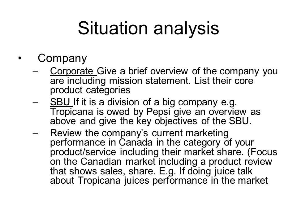 Situation analysis Company