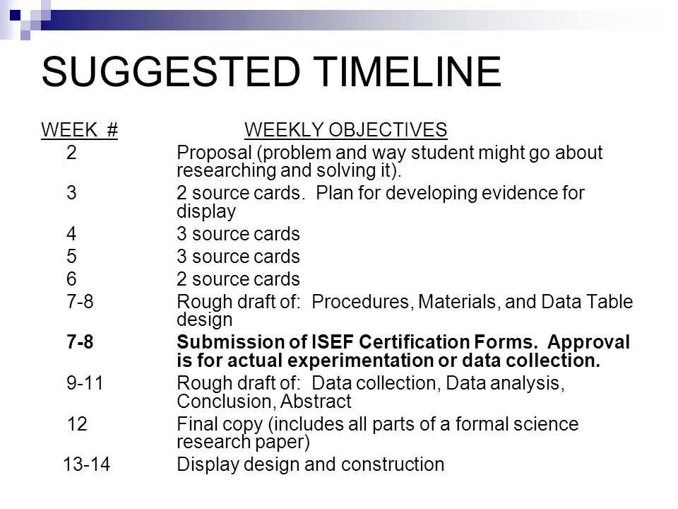 SUGGESTED TIMELINE WEEK # WEEKLY OBJECTIVES