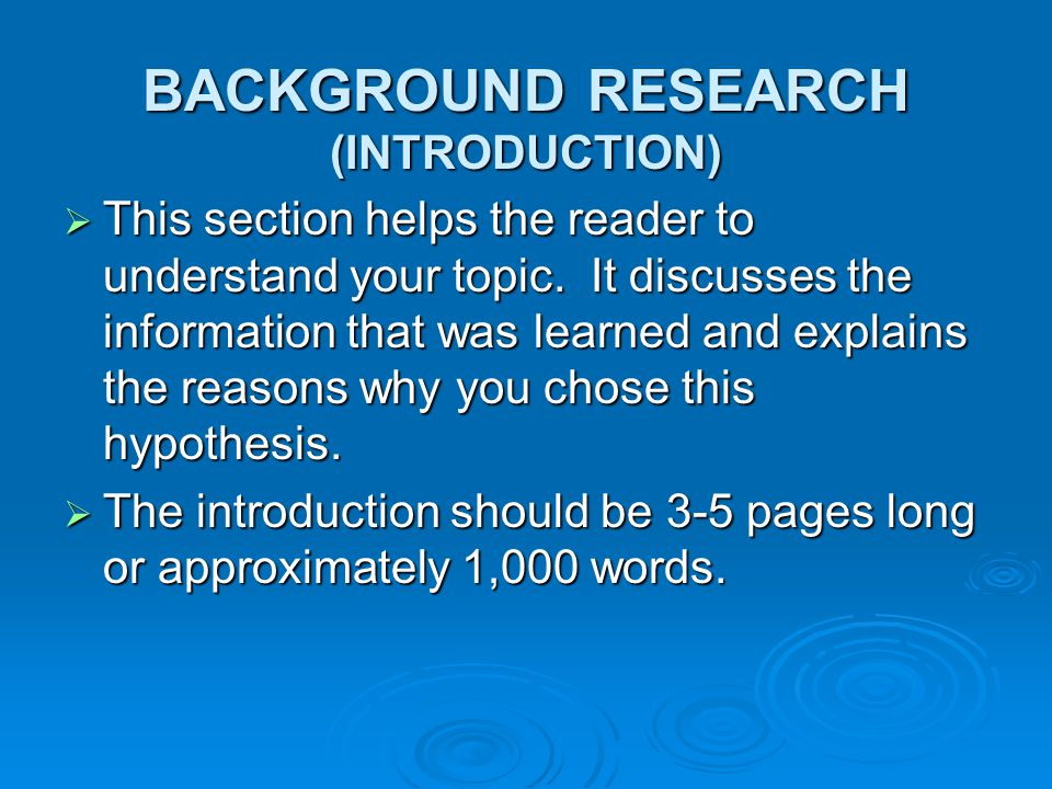 BACKGROUND RESEARCH (INTRODUCTION)
