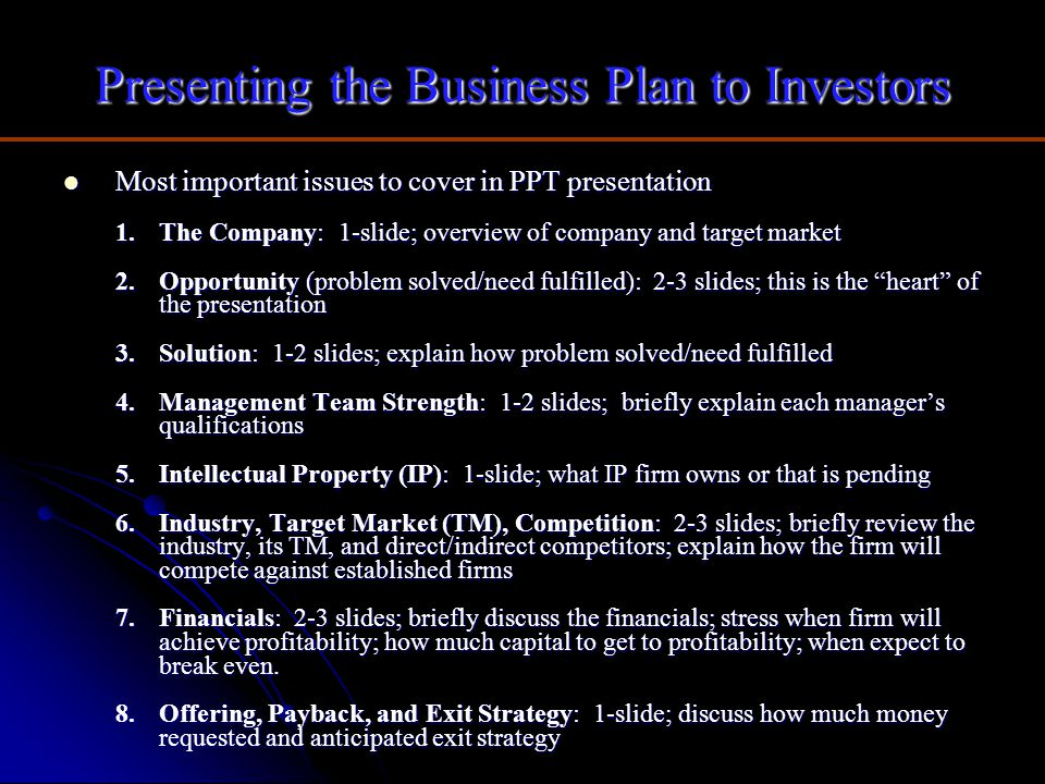 Presenting the Business Plan to Investors