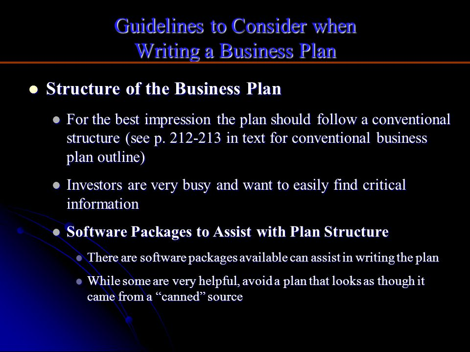 Guidelines to Consider when Writing a Business Plan
