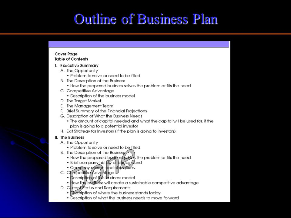 Outline of Business Plan