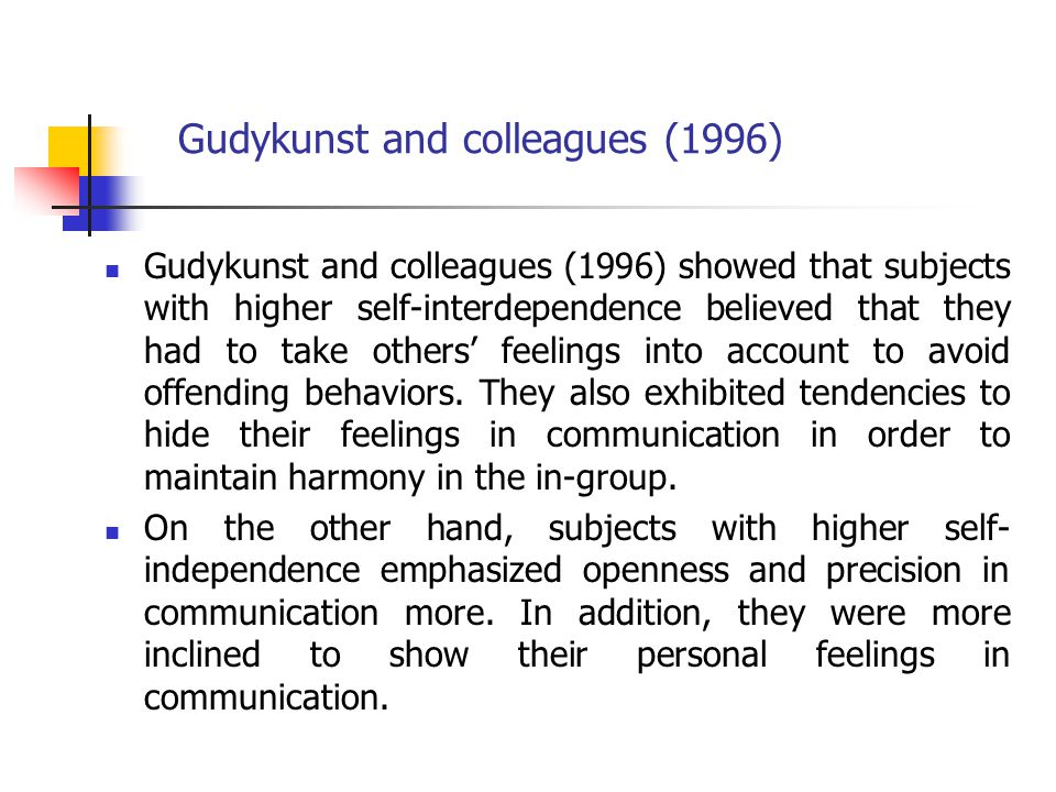 Gudykunst and colleagues (1996)