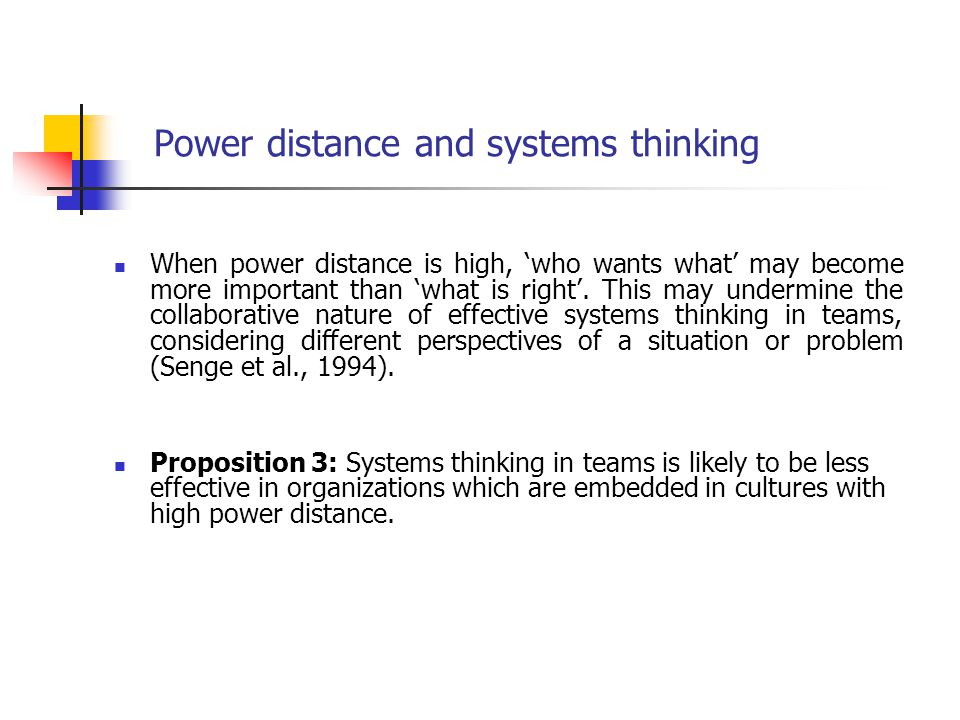 Power distance and systems thinking