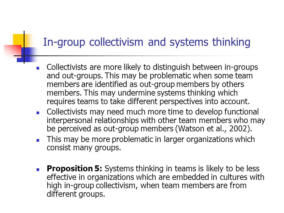 In-group collectivism and systems thinking