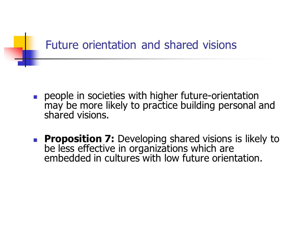 Future orientation and shared visions