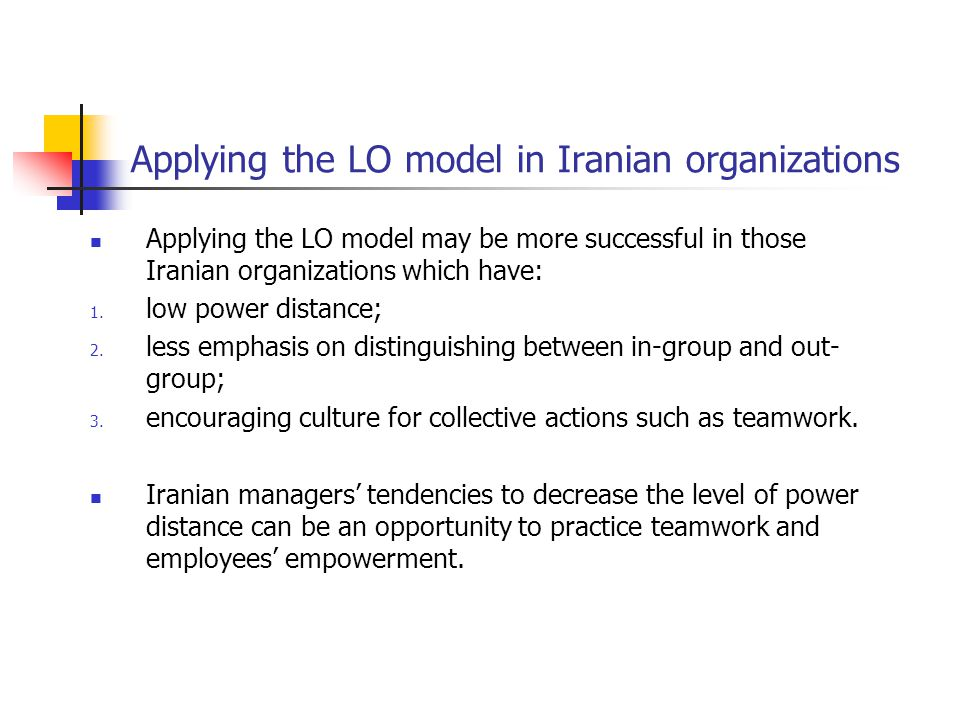 Applying the LO model in Iranian organizations
