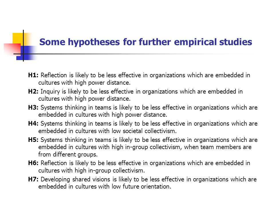 Some hypotheses for further empirical studies
