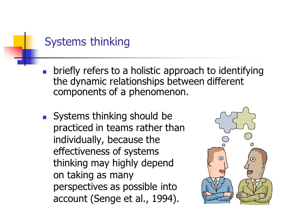 Systems thinking briefly refers to a holistic approach to identifying the dynamic relationships between different components of a phenomenon.