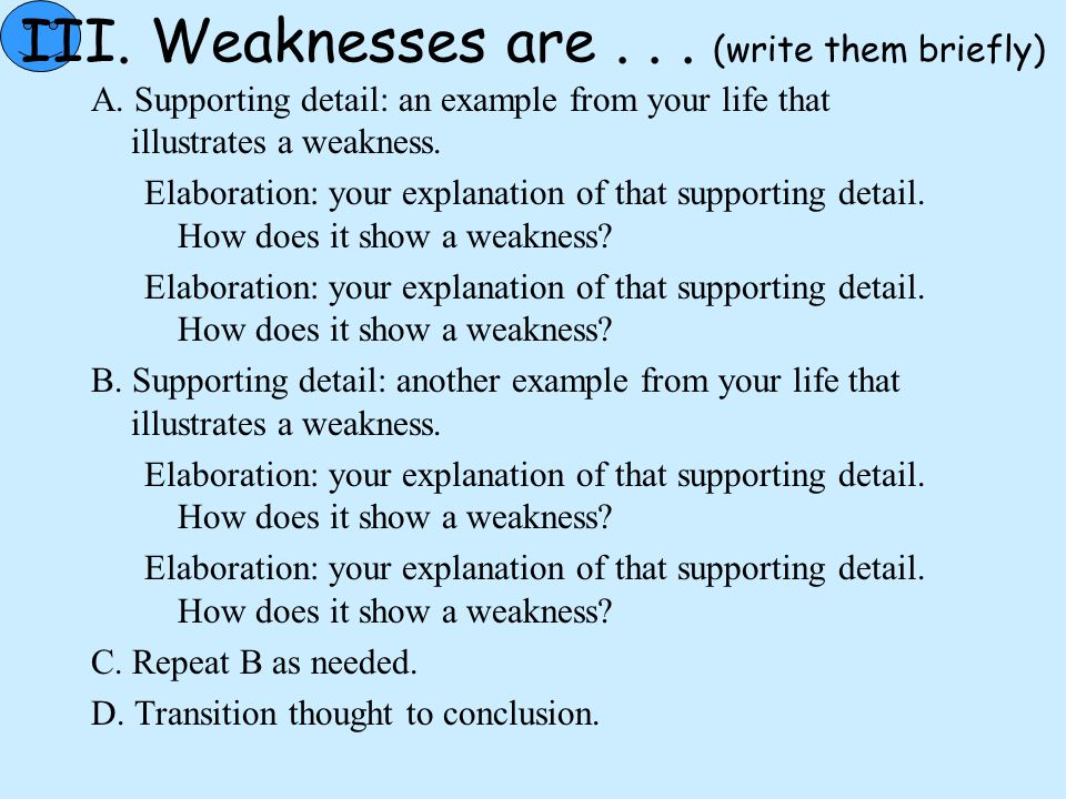 III. Weaknesses are . . . (write them briefly)