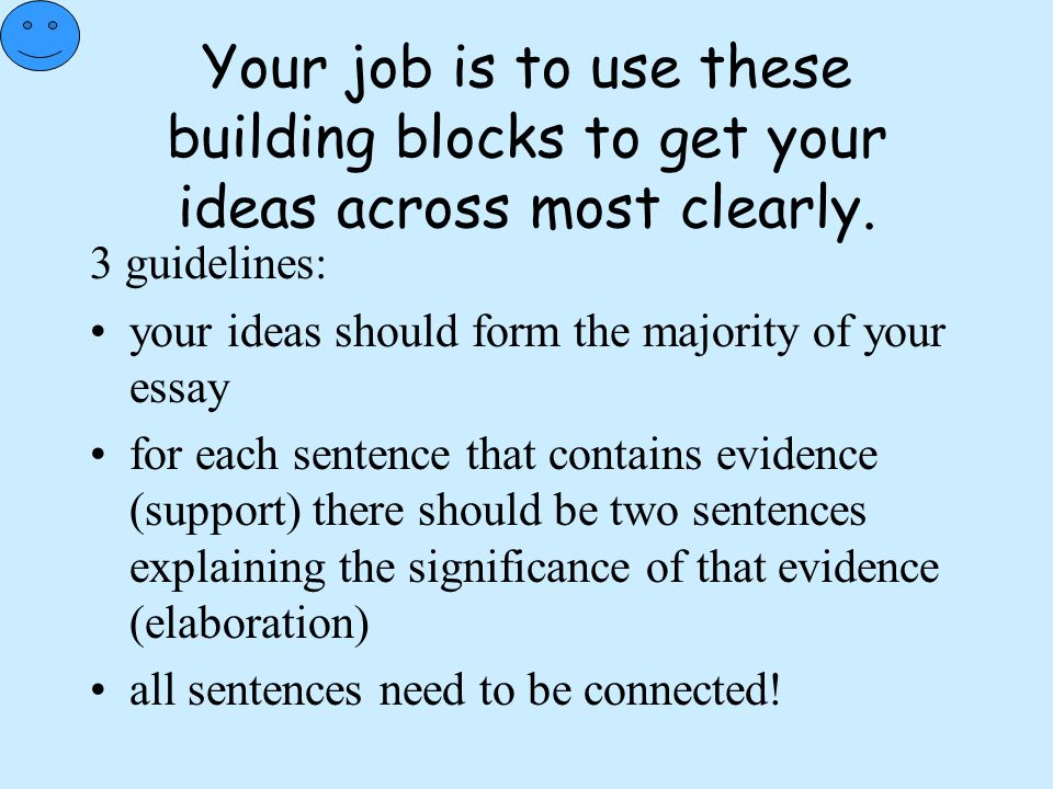 Your job is to use these building blocks to get your ideas across most clearly.