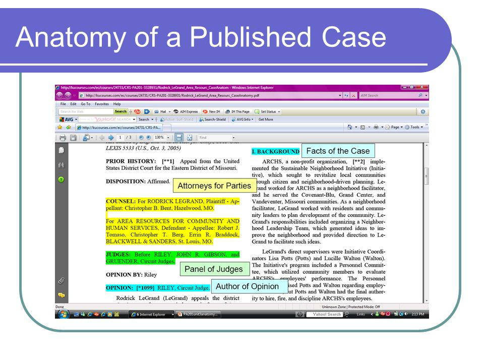 Anatomy of a Published Case