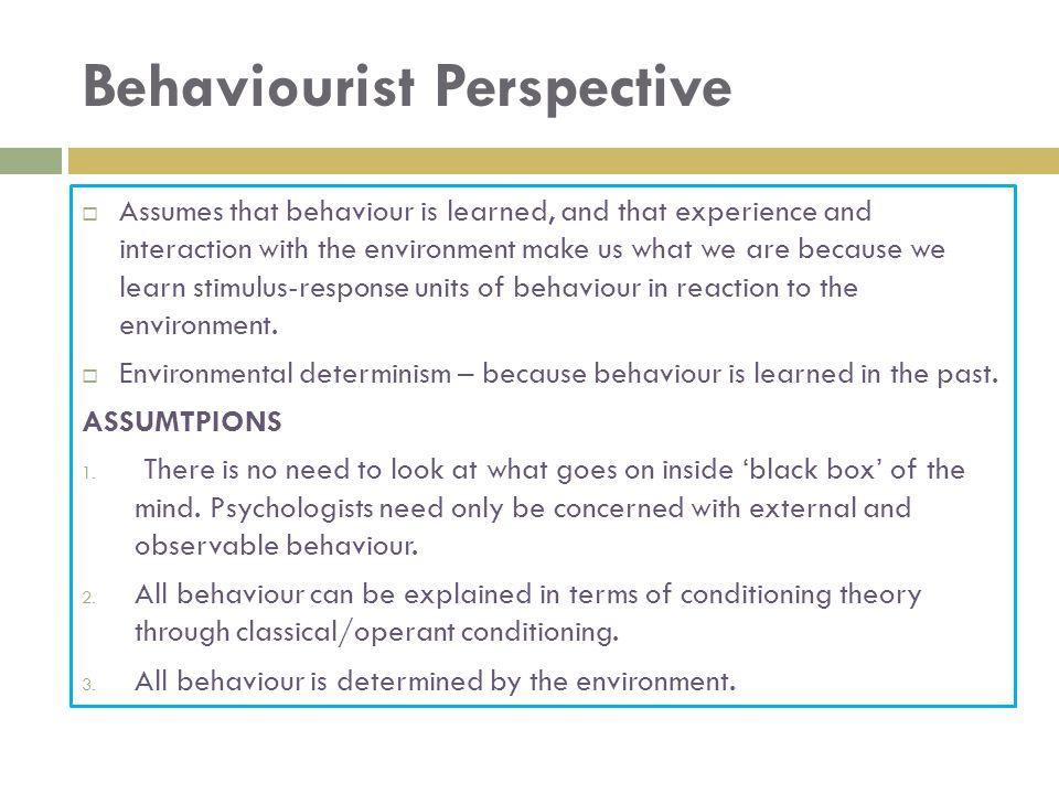 Behaviourist Perspective