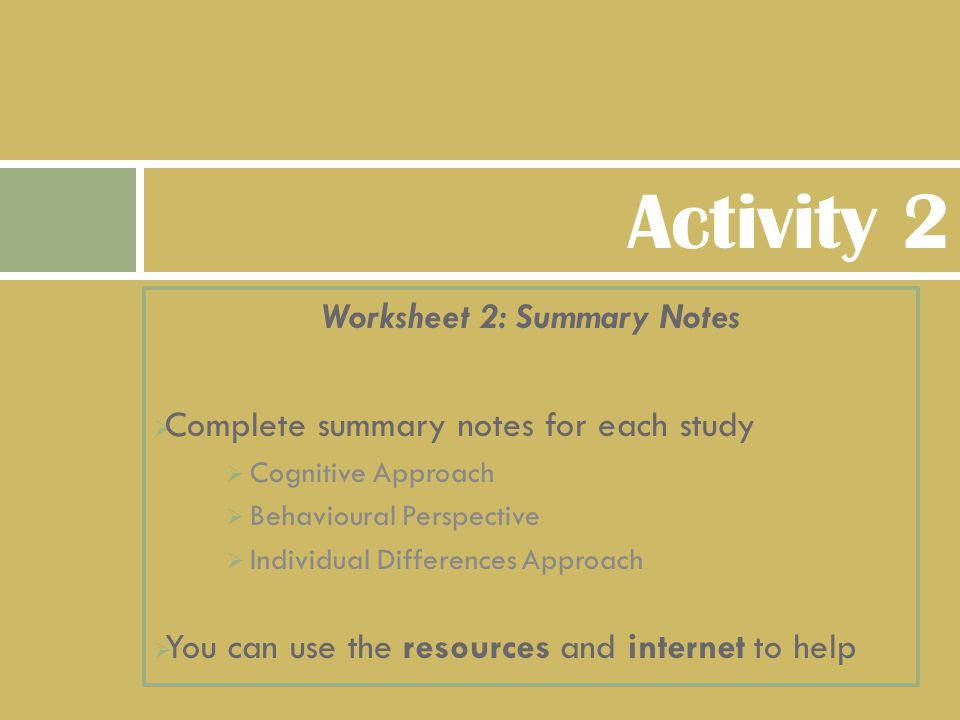 Worksheet 2: Summary Notes