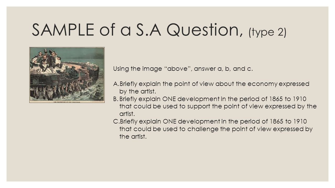 SAMPLE of a S.A Question, (type 2)
