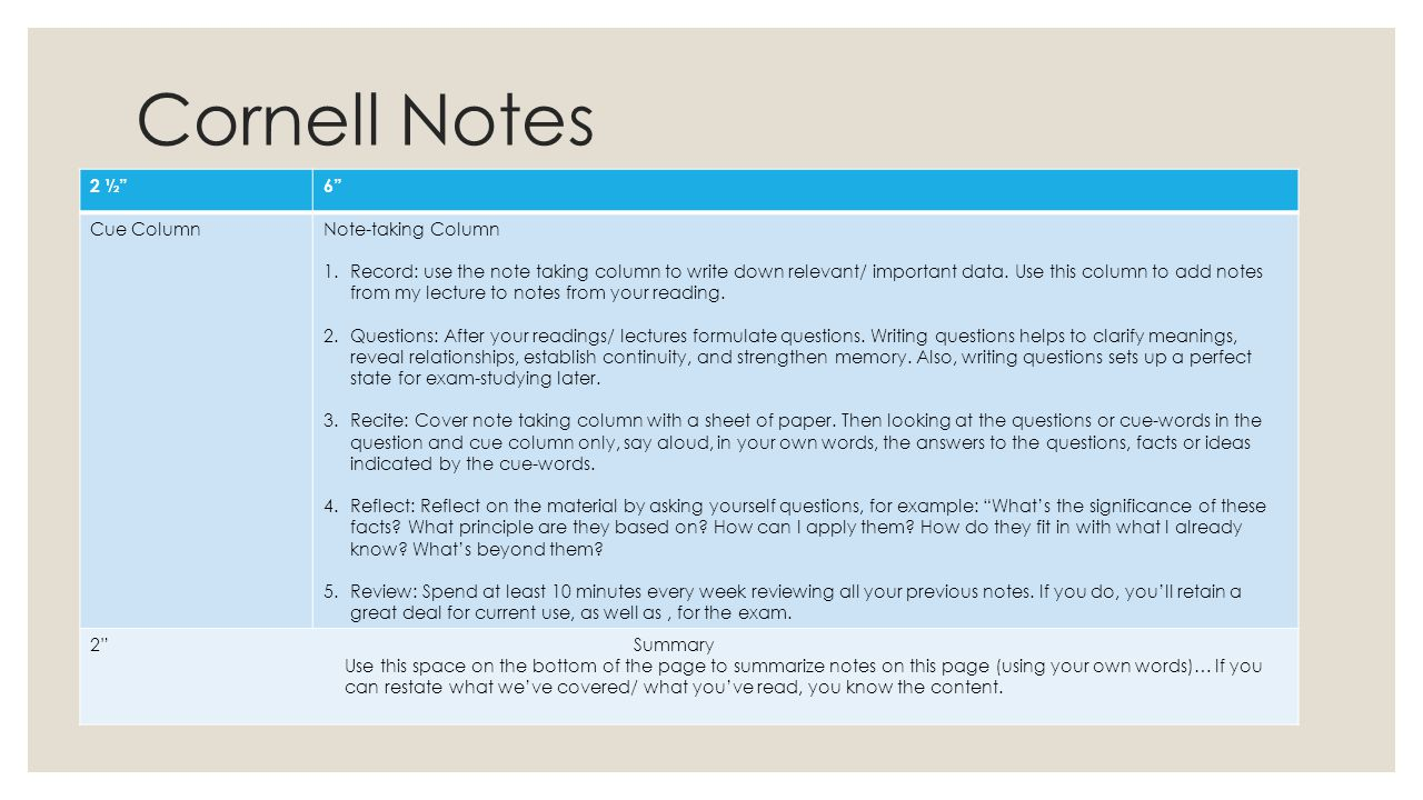 Cornell Notes 2 ½ 6 Cue Column Note-taking Column