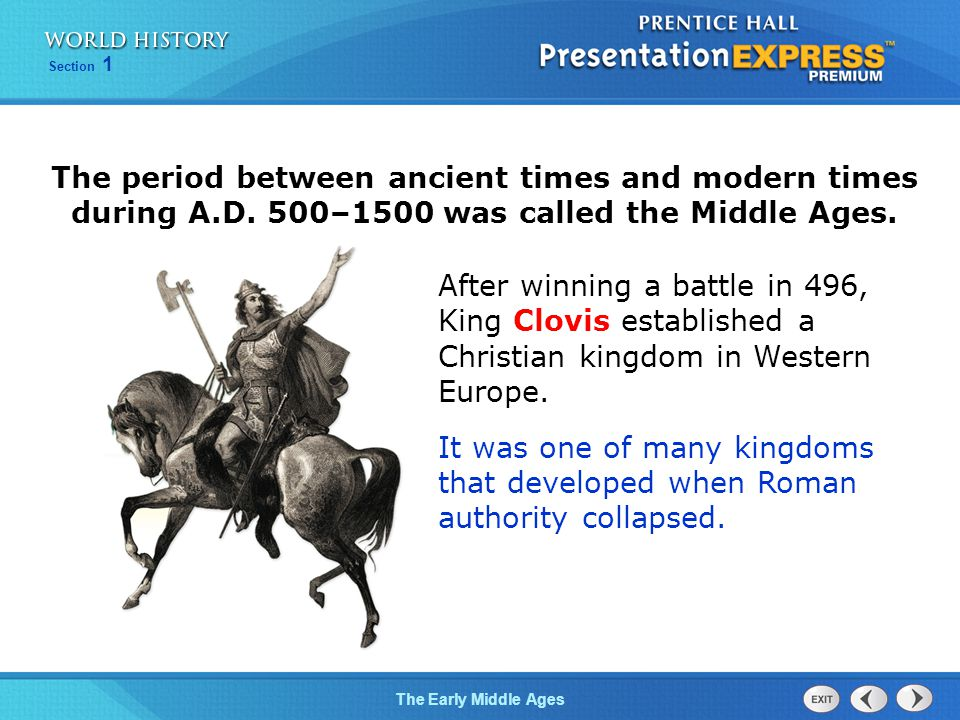 The period between ancient times and modern times during A. D