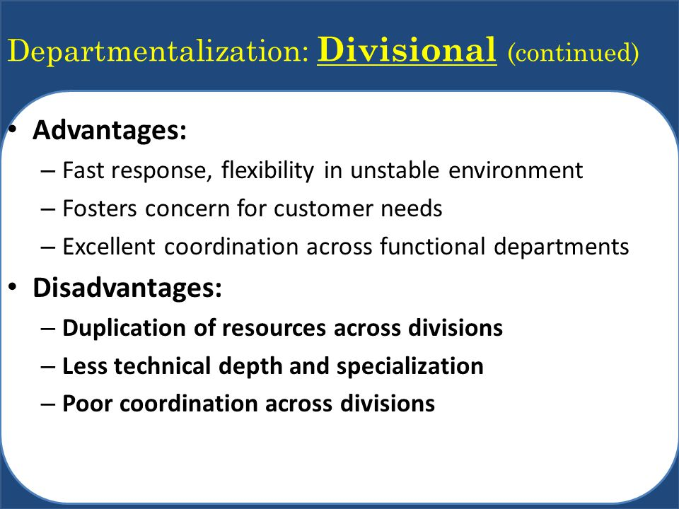 Departmentalization: Divisional (continued)