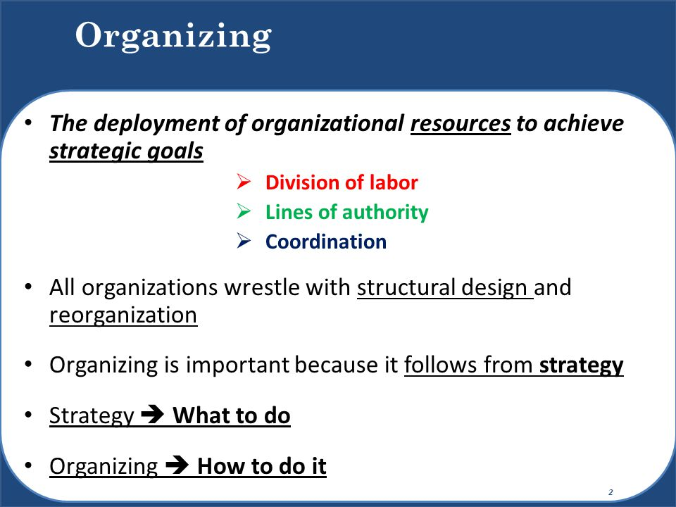 Organizing The deployment of organizational resources to achieve strategic goals. Division of labor.