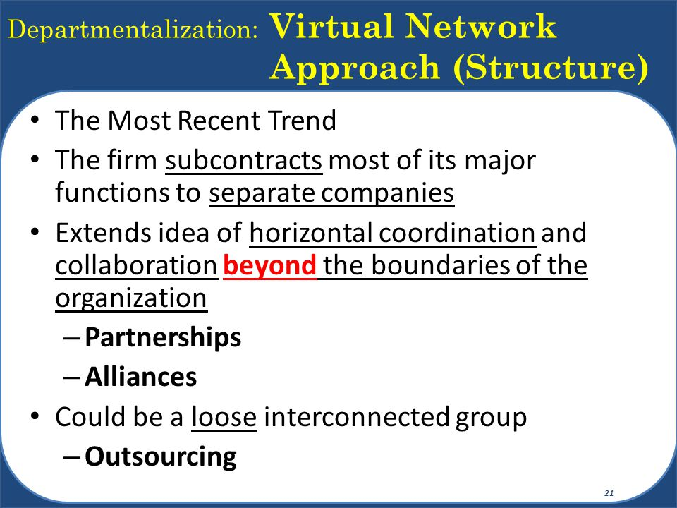 Departmentalization: Virtual Network Approach (Structure)