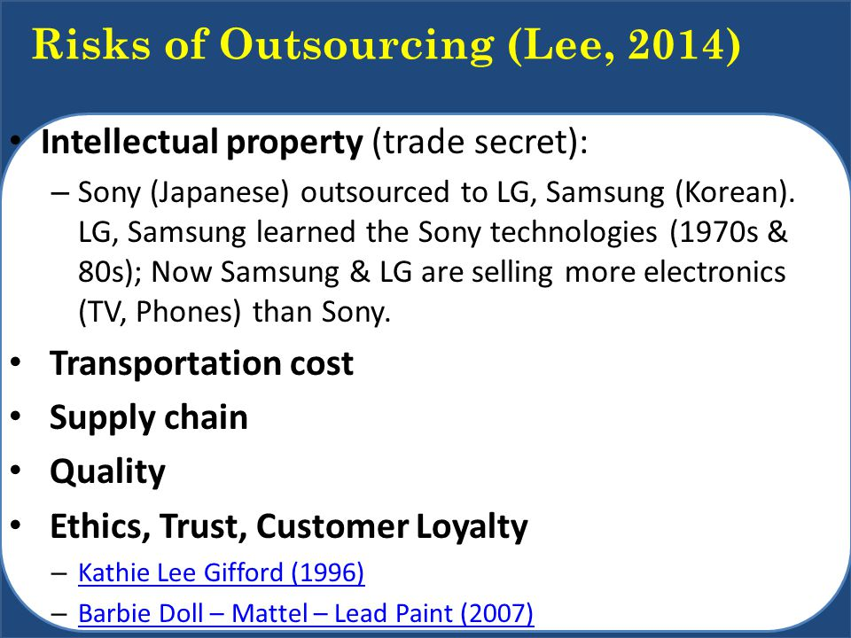 Risks of Outsourcing (Lee, 2014)