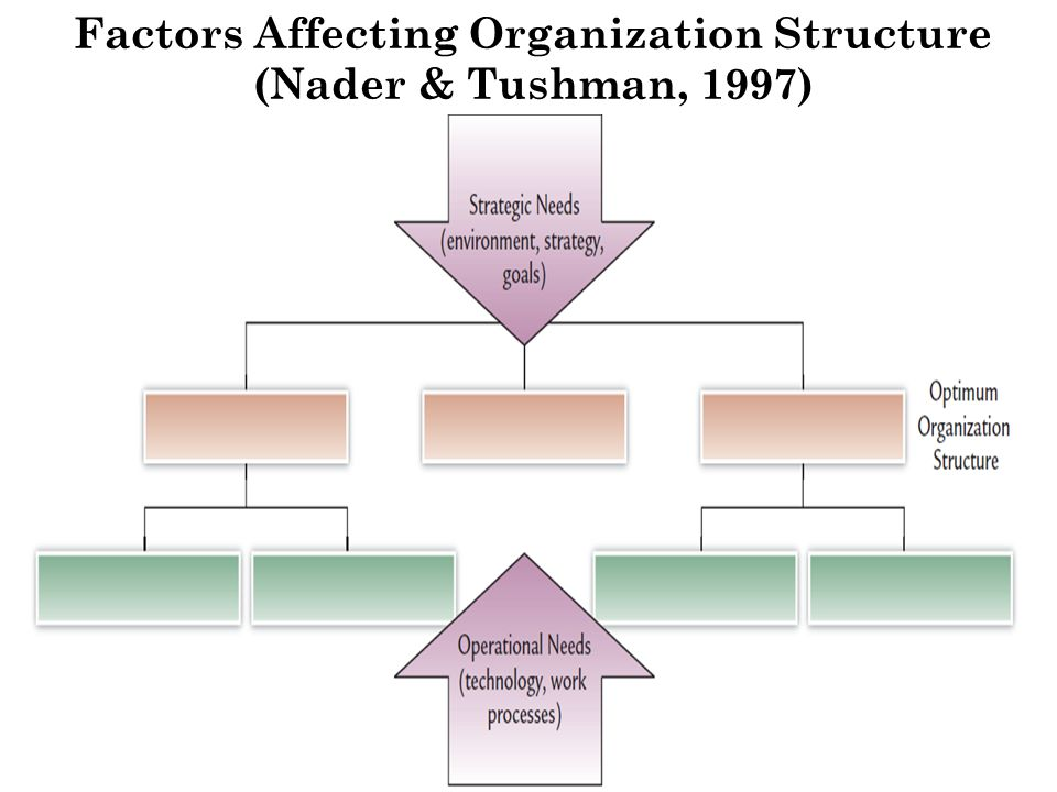 factors affecting organizational structure Identify the factors that influence managers' choice of an organizational structure  explain how managers group tasks into jobs that are motivating and satisfying.