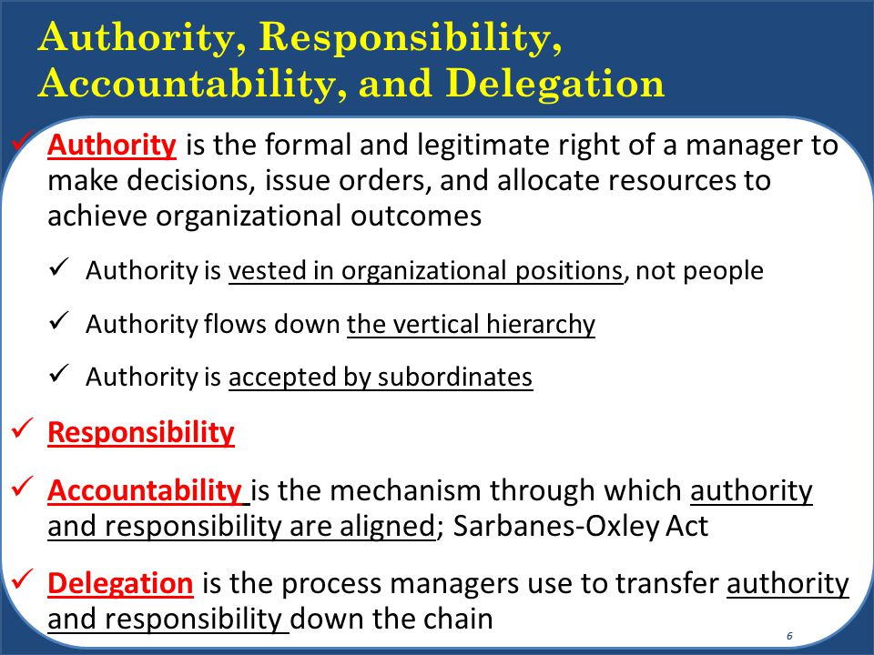 Authority, Responsibility, Accountability, and Delegation
