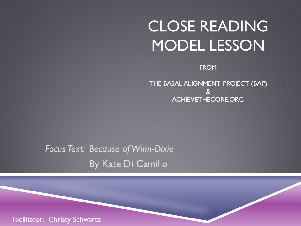 Focus Text: Because of Winn-Dixie By Kate Di Camillo