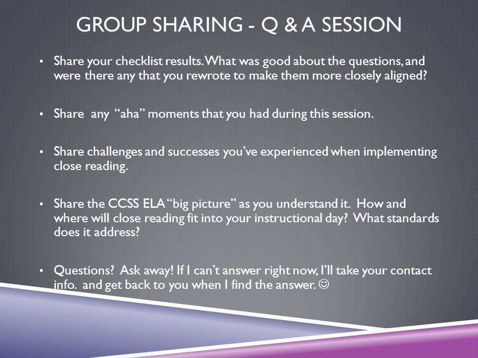 Group sharing - Q & A Session