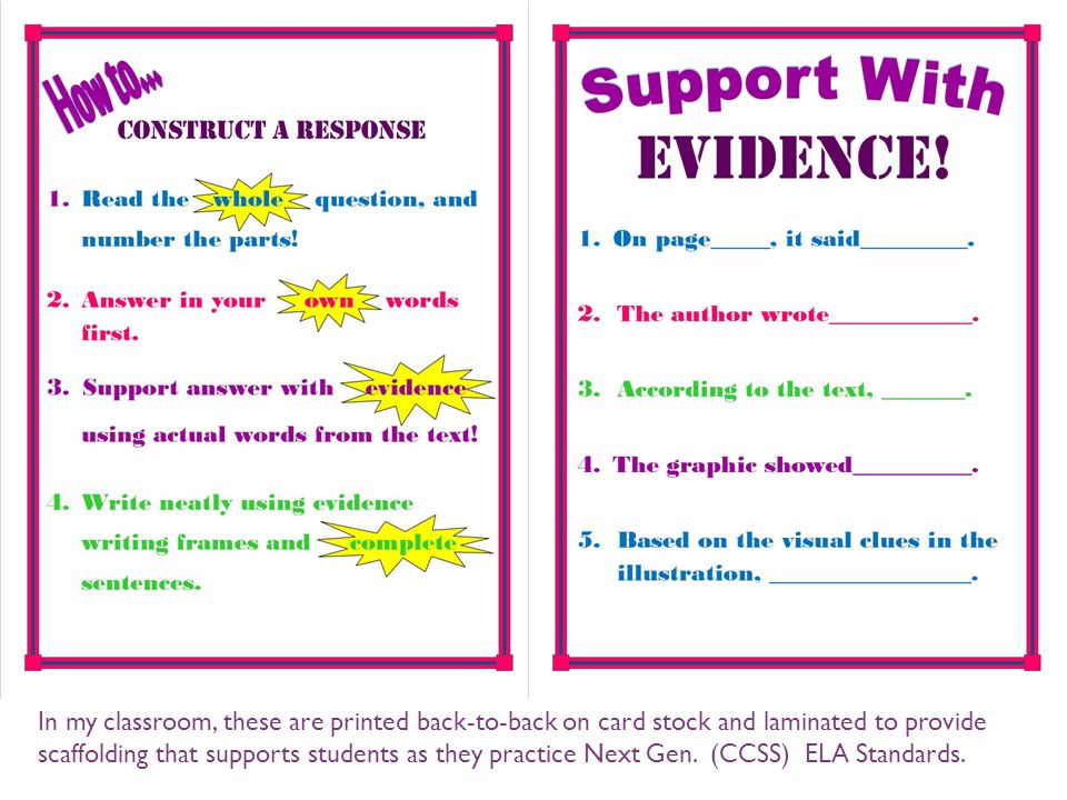 In my classroom, these are printed back-to-back on card stock and laminated to provide scaffolding that supports students as they practice Next Gen.