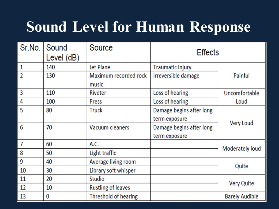 Sound Level for Human Response