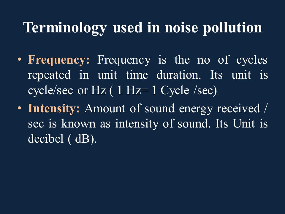 Terminology used in noise pollution