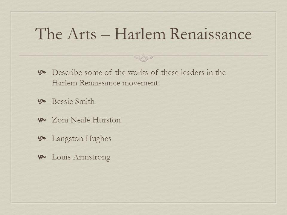 The Arts – Harlem Renaissance