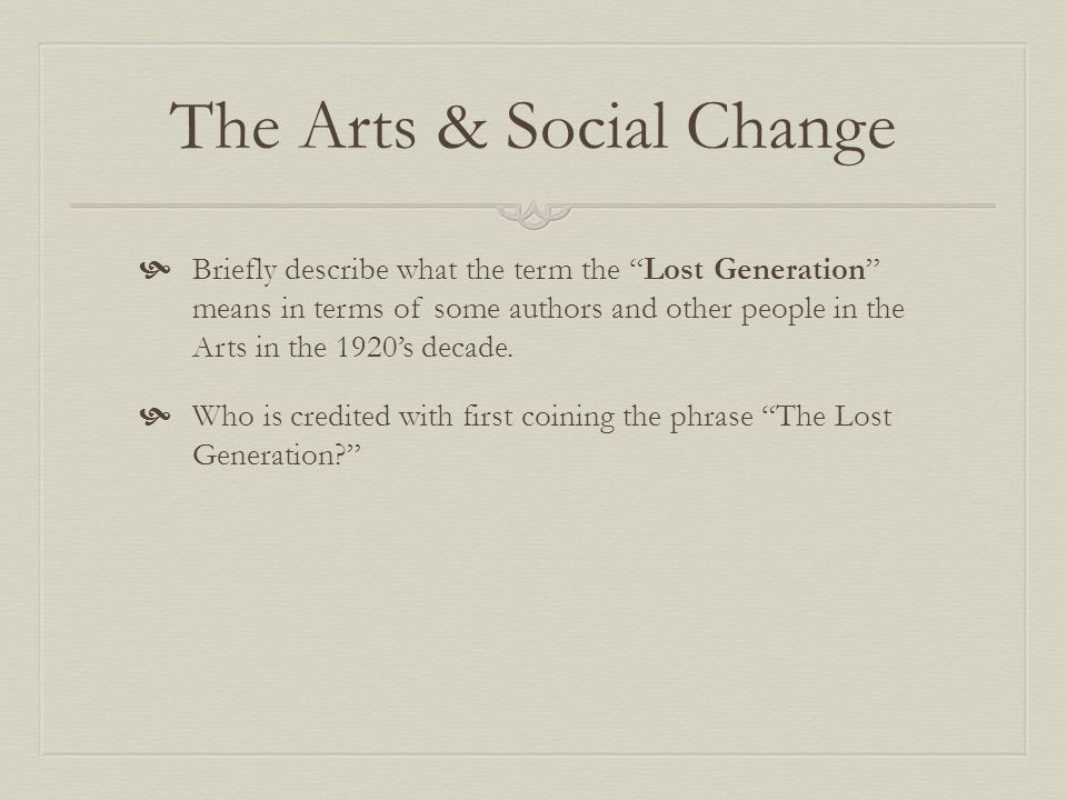 The Arts & Social Change