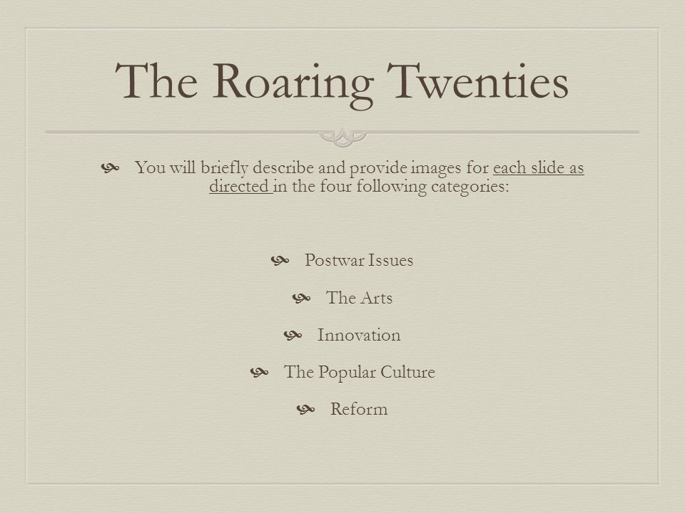 The Roaring Twenties You will briefly describe and provide images for each slide as directed in the four following categories: